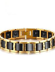 cheap -Men's Hematite Chain Bracelet Geometrical Vertical / Gold bar Fashion Titanium Steel Bracelet Jewelry Gold For Gift Daily