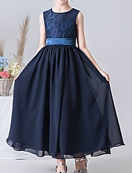 cheap -A-Line Round Neck Ankle Length POLY Junior Bridesmaid Dress with Pleats