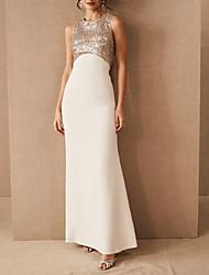 cheap -Sheath / Column Jewel Neck Floor Length Satin / Sequined Regular Straps Romantic Plus Size Wedding Dresses with 2020