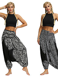 cheap -Women's Dancer Yoga Meditation Masquerade Boho Exotic Dancewear Polyster Black & White Black+Grey Pants