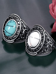 cheap -Women's Band Ring 1pc Blue White Alloy irregular Elegant Trendy Gift Daily Jewelry Happy Cool