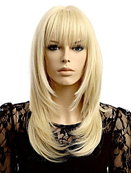 cheap -Synthetic Wig kinky Straight Asymmetrical Wig Medium Length Blonde Synthetic Hair 17 inch Women's Best Quality Blonde