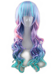 cheap -Synthetic Wig Curly Body Wave Asymmetrical Wig Long Ombre Color Synthetic Hair 27 inch Women's Best Quality Mixed Color