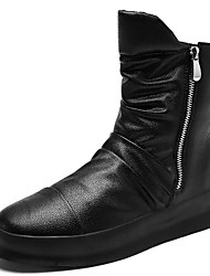 cheap -Men's Comfort Shoes PU Fall & Winter Boots Mid-Calf Boots Black / Black and White / White