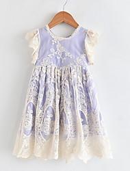 cheap -Kids Girls' Color Block Dress Purple