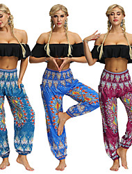 cheap -Women's Yoga Pants Harem Smocked Waist Bloomers Quick Dry Breathable Bohemian Hippie Boho Dark Red Blue Light Blue Fitness Gym Workout Dance Sports Activewear Stretchy Loose