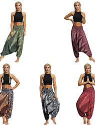 cheap -Women's Yoga Pants Harem Baggy Print Black Gray+Green Light Brown Dark Purple Dark Red Dance Fitness Gym Workout Bloomers Sport Activewear Lightweight Breathable Quick Dry Soft Stretchy Loose