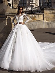 cheap -Ball Gown Jewel Neck Court Train Lace / Tulle Long Sleeve Plus Size / Illusion Sleeve Wedding Dresses with Lace / Appliques 2020