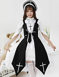 cheap -Gothic Lolita Gothic Dress Female Japanese Cosplay Costumes Black / Red Color Block Half Sleeve Knee Length
