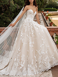 cheap -A-Line Wedding Dresses Sweetheart Neckline Sweep / Brush Train Lace Strapless Romantic Illusion Detail with Appliques 2020