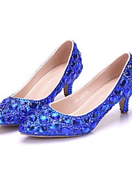cheap -Women's Wedding Shoes Crystal Sandals Low Heel Pointed Toe Rhinestone / Crystal / Sparkling Glitter PU Vintage / Minimalism Spring &  Fall / Spring & Summer Gold / Blue / Party & Evening
