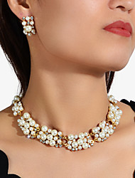 cheap -Women's Necklace Earrings Hollow Out Love Imagine Happy Artistic Luxury Trendy Elegant French Imitation Pearl Earrings Jewelry Gold / Rainbow For Wedding Engagement Gift Daily Festival 1 set