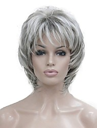 cheap -Synthetic Wig Wavy Wavy Pixie Cut Layered Haircut With Bangs Wig Short Grey Red Synthetic Hair 14 inch Women's Highlighted / Balayage Hair Gray