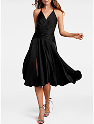 cheap -A-Line Little Black Dress Party Wear Wedding Guest Cocktail Party Dress Halter Neck Sleeveless Tea Length Satin with Pleats Split 2020