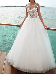 cheap -A-Line Wedding Dresses Jewel Neck Sweep / Brush Train Lace Tulle Regular Straps Romantic Beach Illusion Detail Backless with Lace Insert 2021