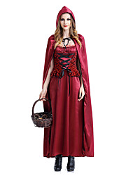 abordables -Le petit Chaperon rouge Bal Masqué Femme Cosplay de Film Princesse Fuschia Robe Manteau Halloween Carnaval Mascarade Dentelle Mélange soie / coton Satin