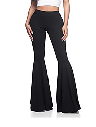 cheap -Women's Boho / Street chic Wide Leg / Chinos Pants - Solid Colored Black White Purple S M L