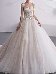cheap -A-Line Wedding Dresses Sweetheart Neckline Court Train Lace Tulle Charmeuse Spaghetti Strap Formal Plus Size with Lace Insert 2020