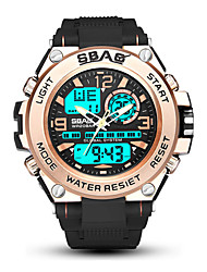 cheap -Men's Sport Watch Digital Modern Style Sporty Outdoor Water Resistant / Waterproof Analog - Digital Black / Blue black / gold Black / Two Years / Stainless Steel / Silicone / Chronograph