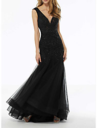 cheap -A-Line V Neck Floor Length Lace / Tulle Regular Straps Plus Size / Black Wedding Dresses with Beading / Draping / Embroidery 2020