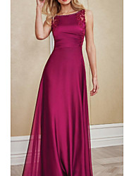 cheap -A-Line Bateau Neck Floor Length Chiffon / Charmeuse Sleeveless Elegant Mother of the Bride Dress with Lace / Ruching 2020