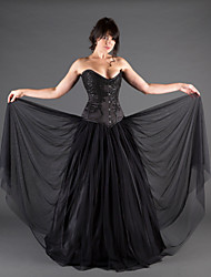 cheap -A-Line Sweetheart Neckline Floor Length Lace / Satin / Tulle Strapless Black Wedding Dresses with Beading / Draping / Appliques 2020