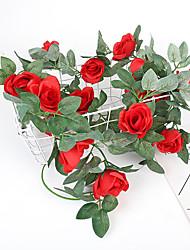 cheap -Artificial Rose Vine 16 Brick Stone Rose Flower Rattan Bedroom Dining Room Ceiling Flower Wall Decoration Vine 1 Pack