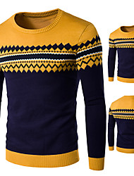 cheap -Men's Geometric Long Sleeve Pullover Sweater Jumper, V Neck Yellow US32 / UK32 / EU40 / US34 / UK34 / EU42 / US36 / UK36 / EU44