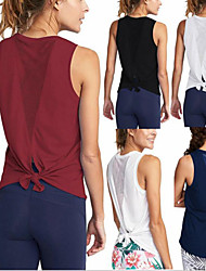 cheap -Women's Yoga Top Patchwork Fashion Black White Burgundy Cyan Mesh Running Fitness Gym Workout Tee / T-shirt Sleeveless Sport Activewear Lightweight Quick Dry Comfortable Stretchy Loose