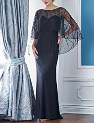 cheap -Sheath / Column Jewel Neck Sweep / Brush Train Satin 3/4 Length Sleeve Elegant & Luxurious Mother of the Bride Dress with Beading / Embroidery 2020