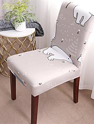 abordables -Ours de bande dessinée housse de chaise extensible amovible lavable salle à manger chaise protecteur housses décor à la maison salle à manger housse de siège
