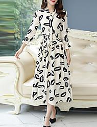 cheap -Women's Birthday Date Boho Elegant Swing Dress - Geometric Lace up Black Red Beige M L XL XXL