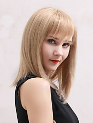 cheap -Human Hair Wig Medium Length Straight Natural Straight Layered Haircut Asymmetrical Side Part Neat Bang Black Brown Fashionable Design Cool Fashion Capless Women's All Black#1B Strawberry Blonde