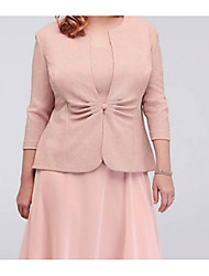 cheap -Half Sleeve / 3/4 Length Sleeve Polyester Wedding Women's Wrap With Ruching Coats / Jackets