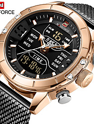 cheap -NAVIFORCE Men's Dress Watch Quartz Modern Style Stylish 30 m Water Resistant / Waterproof LCD Casual Watch Analog - Digital Luxury Fashion - Black black / gold Blue