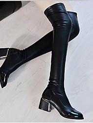 cheap -Women's Boots Wedge Heel Round Toe PU Knee High Boots Fall & Winter Black