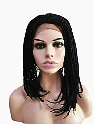 cheap -Synthetic Lace Front Wig Straight Straight Lace Front Wig Medium Length Natural Black Dark Brown Synthetic Hair Women's Natural Hairline Side Part African American Wig Black Brown