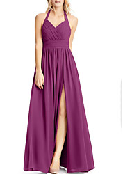 cheap -A-Line Halter Neck Floor Length Chiffon Bridesmaid Dress with Split Front / Ruching / Open Back