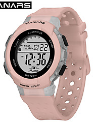 Недорогие -SYNOKE электронные часы Цифровой Спортивные Стильные силиконовый 30 m Защита от влаги Календарь ЖК экран Цифровой На открытом воздухе Мода - Белый Черный Розовый / Фосфоресцирующий