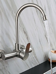 cheap -Stainless Steel Kitchen Faucet,Wall Mounted Single Handle One Hole Electroplated Standard Spout High Arc Contemporary Kitchen Taps with Hot and Cold Water Switch