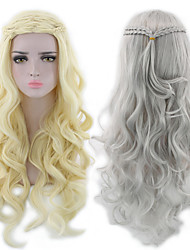 cheap -Synthetic Wig Body Wave Asymmetrical Wig Blonde Long Light golden Grey Synthetic Hair 25 inch Women's Best Quality curling Dark Gray Blonde