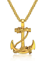 cheap -Men's Pendant Necklace Geometrical Anchor Fashion Titanium Steel Black Gold Silver 50 cm Necklace Jewelry 1pc For Gift Daily