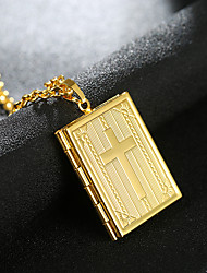 cheap -Men's Women's Pendant Necklace Charm Necklace Classic Cross Locket Precious Unique Design Fashion Silver Plated Gold Plated Chrome Gold Silver 55 cm Necklace Jewelry 1pc For Daily Street Work