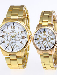 cheap -Couple's Steel Band Watches Quartz Stainless Steel Silver / Gold No Chronograph Creative New Design Analog New Arrival Fashion - Gold / White Gold Silver One Year Battery Life
