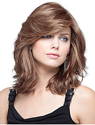 cheap -Synthetic Wig Curly Asymmetrical Wig Medium Length sepia Synthetic Hair 16 inch Women's Best Quality Brown