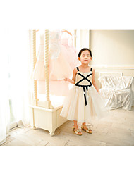cheap -Ball Gown Tea Length Flower Girl Dress - Lace / Tulle Sleeveless Spaghetti Strap with Sash / Ribbon