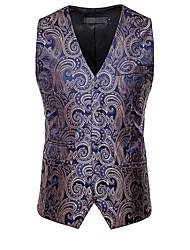 cheap -Men's Vest, Solid Colored V Neck Polyester Black / White / Gold