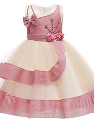 cheap -Kids Girls' Active Sweet Patchwork Beaded Patchwork Sleeveless Knee-length Dress Dusty Rose