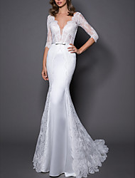 cheap -Mermaid / Trumpet Wedding Dresses V Neck Sweep / Brush Train Lace Satin 3/4 Length Sleeve Plus Size with Bow(s) 2020