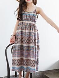 cheap -Kids Girls' Geometric Dress Brown